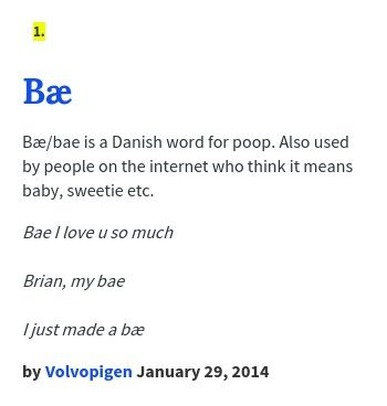 bae meaning in text