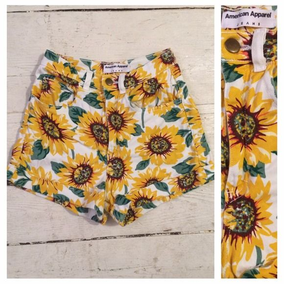 The Infamous American Apparel Sunflower Shorts I still remember the frenzy when these came out and evvvveryone had to have them. I absolutely adore them but got another pair of high waisted sunflower shorts that I adore even more, hehe(thanks again beachgirlie)! They were worn at the beach in the pic&then once more and that's it. Still look perfectly brand new. Sorry for the stinky pictures, please ask for more if you'd like them! American Apparel Jeans