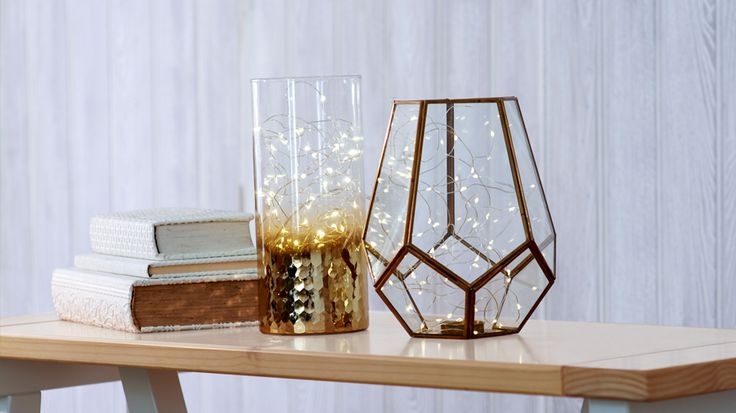 Glass terrarium on a table | Easy DIY lighting ideas | Tesco Living