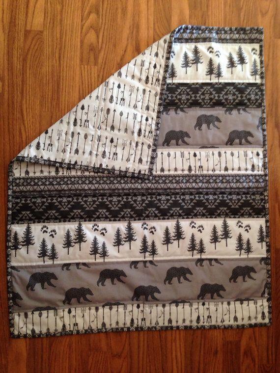 Tribales ours Baby Quilt noir gris et blanc couette