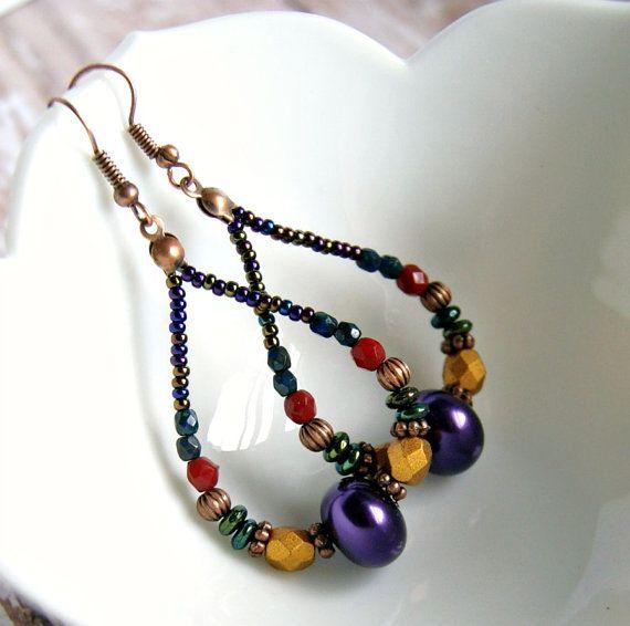 shiraz grenache beaded hoop earrings antique by pixiestrinkets, $8.00
