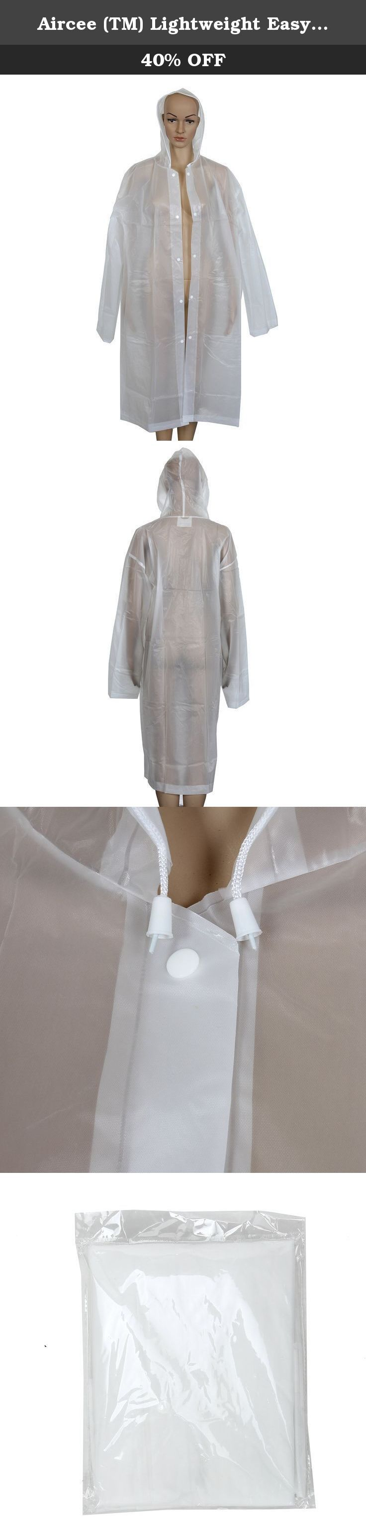 Aircee (TM) Lightweight Easy Carry Poncho Wind Hooded Jacket Raincoat (White). Size:55*14 inches Weight:135 g. Lightweight Easy Carry Poncho Wind Hooded Jacket Raincoat.