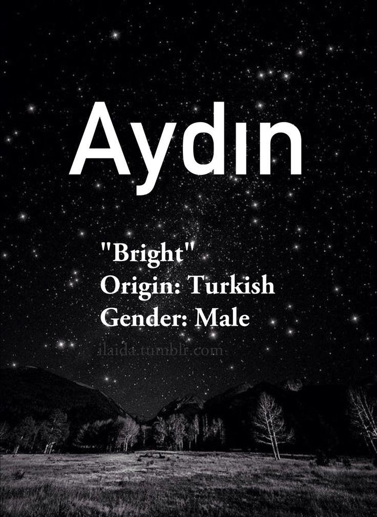 Baby boy name: Aydın. Meaning: Bright. Origin: Turkish.