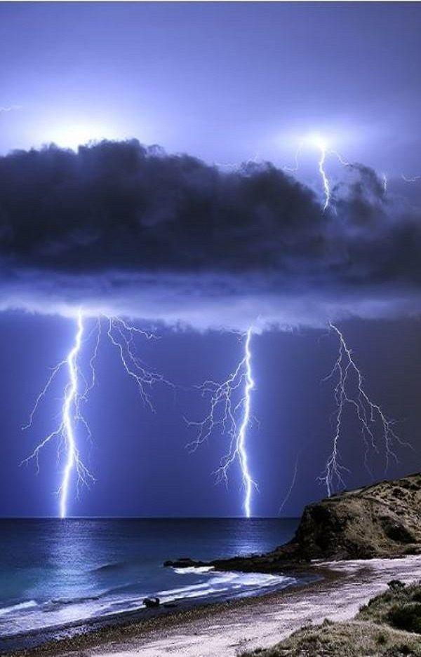 Lightning over the Hallett Cove Conservation Park in South, Australia