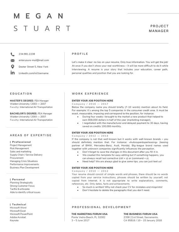 Resume Template Professional Resume 1 Page Resume Modern Resume Template Professional Resume Cover Letter For Resume