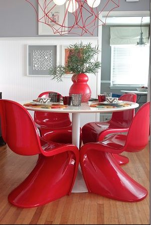 emily henderson: Kitchens Interiors, Kitchens Decor, Decor Kitchens, Interiors Design Kitchens, Small Kitchens Design, Red Chairs, Red Kitchens, Dining Spaces, Red Room