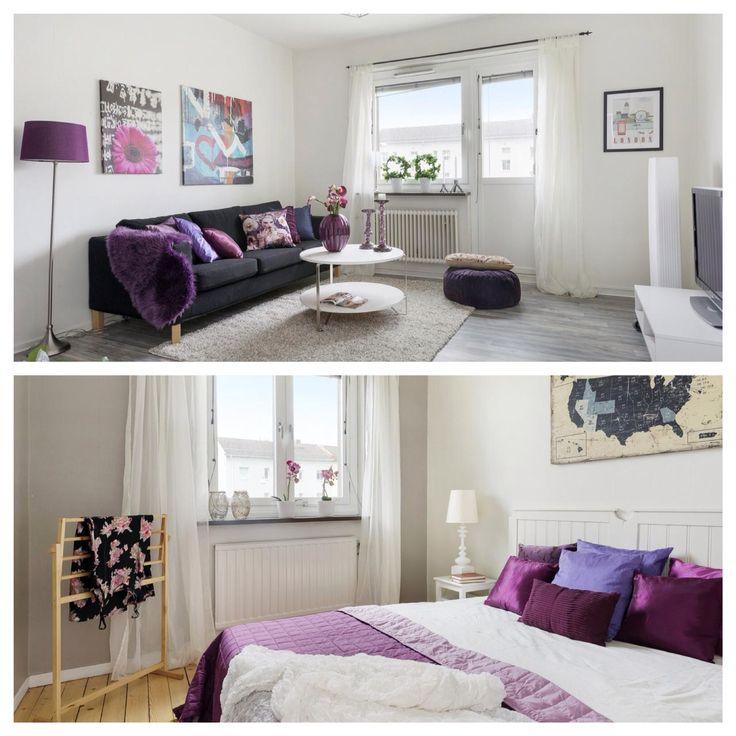 #homestyling#svenskfast#diakrit#esoft#östragöteborg#vardagsru#lila#renoverat#sovrum#kuddar#