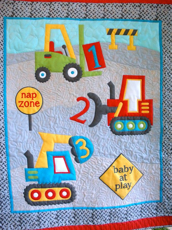 Playing with Trucks Baby Boy or Toddler Quilt by onebeelane