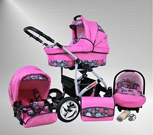 True Love Larmax 3 in 1 Cochecito Combinado Juego Completo (asiento del coche incluye adaptadores, cubierta para la lluvia, mosquitero, ruedas giratorias de 18 colores) 98 rosas et flores rosas  #carritosbebeorg