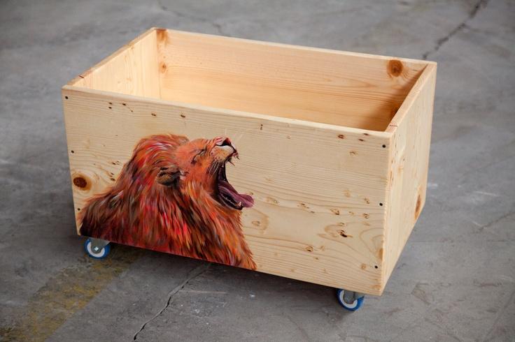 Lion Box / Toy Box / Record Box / Storage Box / Box on Wheels. $160.00, via Etsy.
