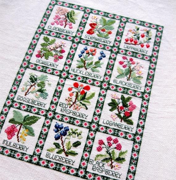 Christmas Tree Farms Victoria: Vintage Needlework Cross Stitch Fruit Berry Sampler Green