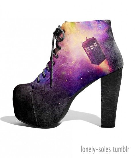 Doctor Who shoes...omg I would totally wear these with my concert palazzos. Nobody would know but me, and I'd be ready to run away with the Doctor.