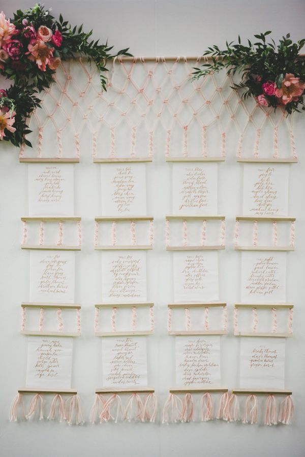macrame seating chart - photo by Melissa Biador http://ruffledblog.com/mixed-metals-wedding-in-la-jolla