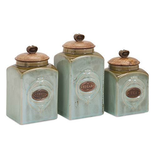 IMAX Teal And Copper Addison Ceramic Canister, Set Of Three