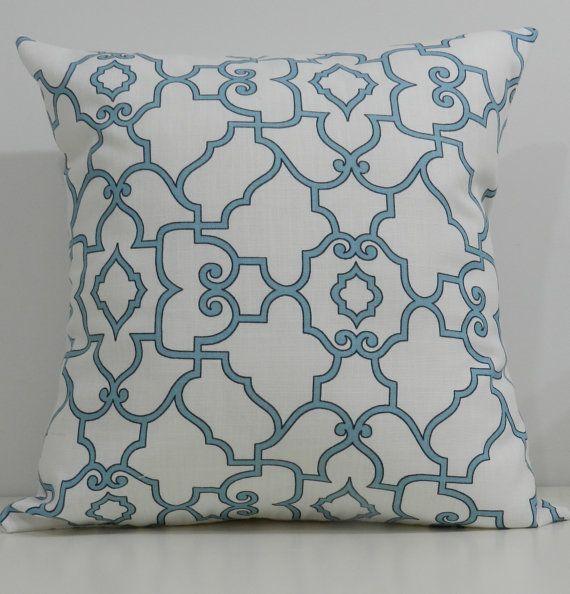 $20 New 18x18 inch Designer Handmade Pillow Cases in blue and white trellis