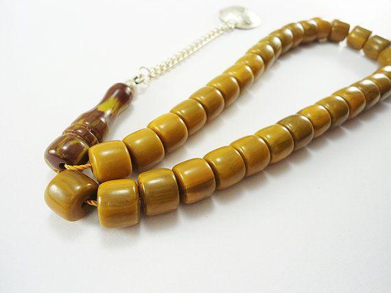 Islamic Prayer Beads Muslim Prayer Beads Amber Prayer by Tesbihci, $14.99