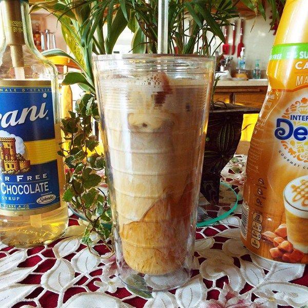 Skinny White Chocolate Caramel Iced Coffee