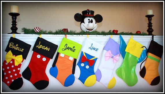 CHRISTMAS STOCKINGS -Set of 4 Personalized Embroidered choose character monogrammed decor Mickey Minnie Goofy Donald Daisy Tinkerbell Pluto