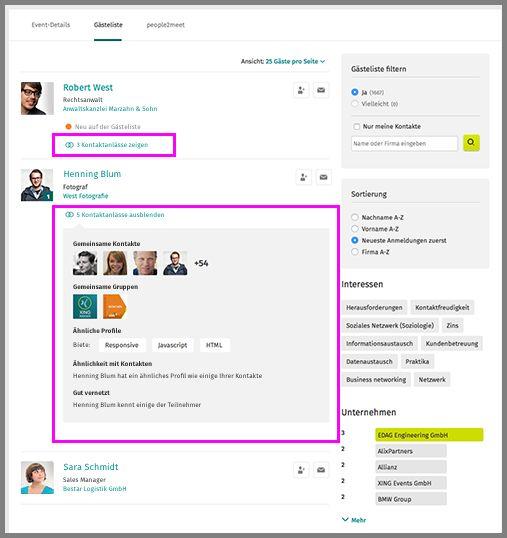 Gemeinsamkeiten mit Teilnehmern in der Gästeliste auf XING.