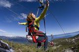 Zipline -- The Zipline at Heavenly in California Overlooks Lake Tahoe: Riding down Heavenly Resort's zipline toward Lake Tahoe