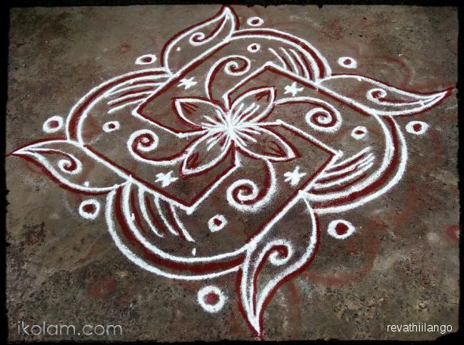 Rangoli Rev's new daily kolam. 9 to 1 straight dots.   www.iKolam.com
