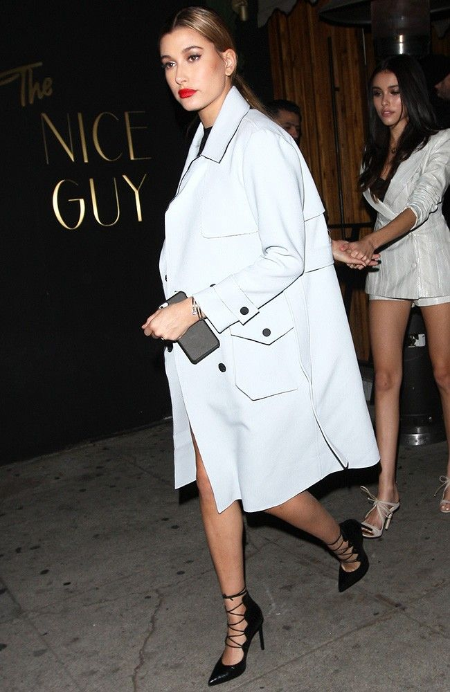 Hailey Baldwin Found the Perfect Topshop Trench Coat via @WhoWhatWear