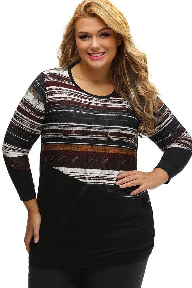 Hauts Grande Taille Femme Raye Noir Epissure Manches Longues MB250007-2 – Modebuy.com
