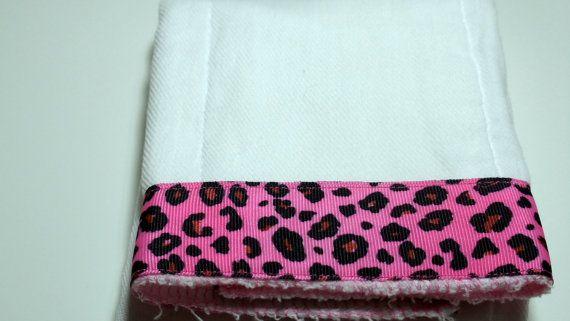 Burp Cloth Hot Pink Cheetah Ribbon by kalliescotton on Etsy, $7.00