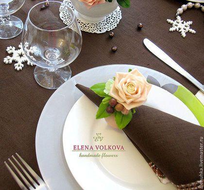 """Кухня ручной работы. Ярмарка Мастеров - ручная работа. Купить Кольца для салфеток с розами  """"Шоколадно-розовый крем"""". Handmade."""