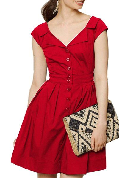 Vintage Turn-Down Collar Back Cut Out Solid Color Ball Flare Dress For Women