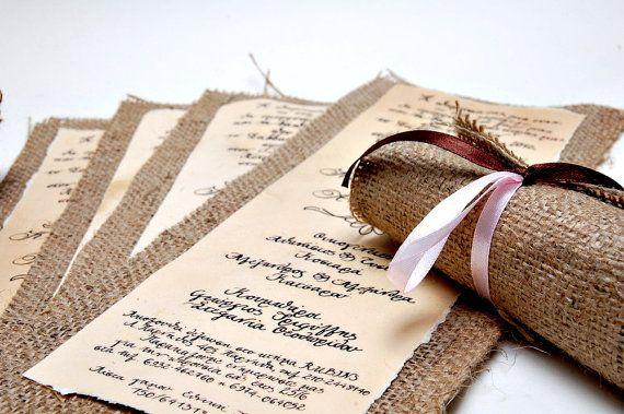 Wedding Invitations Vintage - Burlap Invitations - Rolling Invitations - Calligraphy- Made to order via Etsy