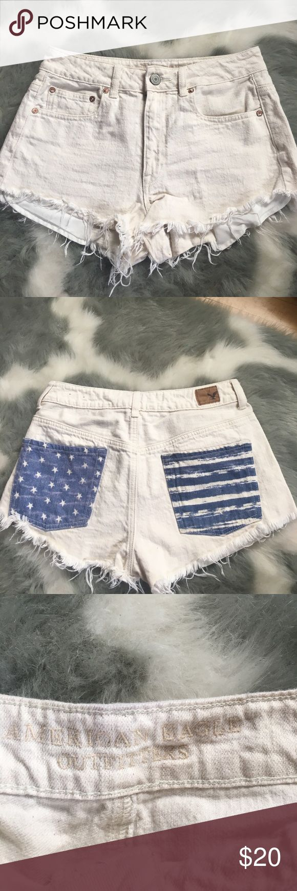 American eagle shorts White/cream shorts with detailed pockets American Eagle Outfitters Shorts Jean Shorts
