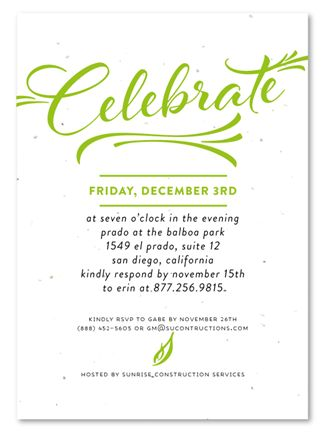 Corporate Event Invitations ~ Modern Script by Green Business Print