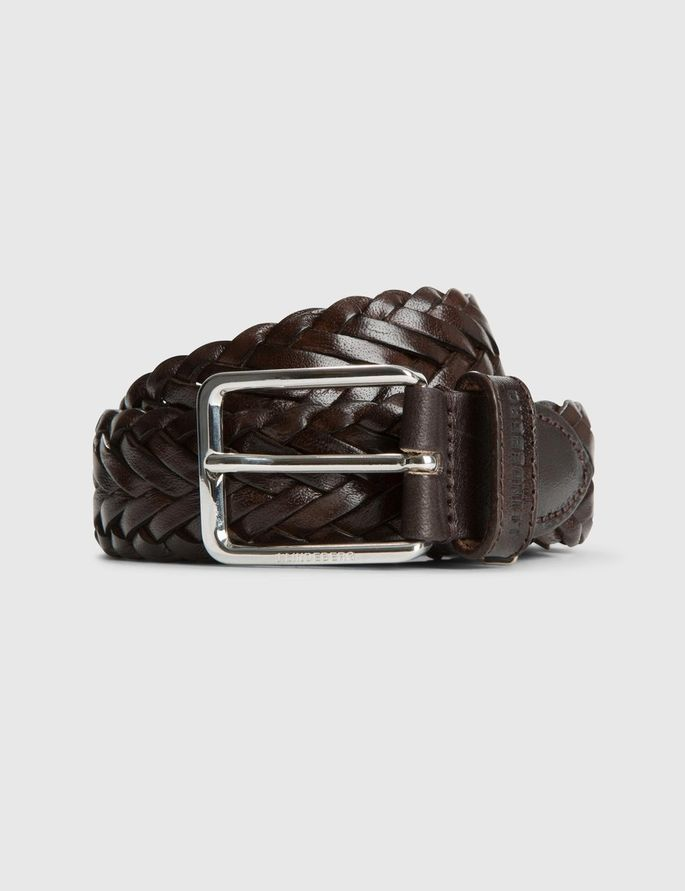 LEATHER BRAID BELT, Dk Brown, large