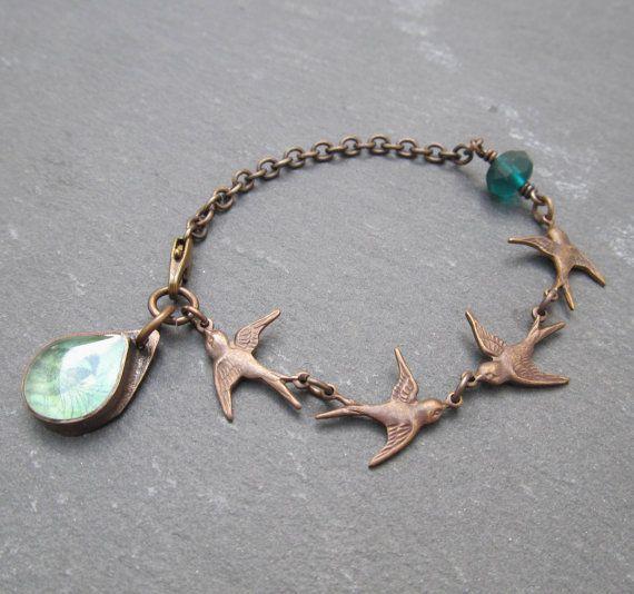 Swallow bracelet  Vintaj jewelry skinny bracelet by BeadyDaze