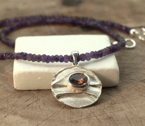 Amethyst Necklace Amethyst Silver Pendant and by SunSanJewelry