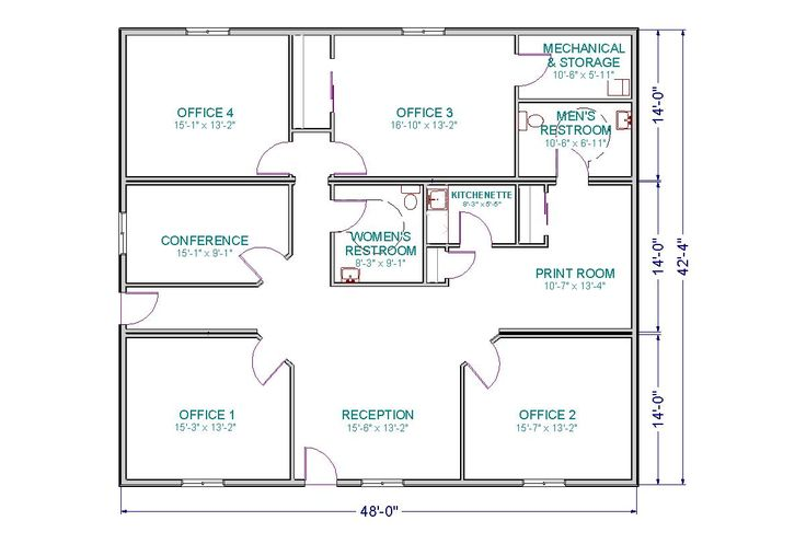 Small-Office Floor Plan | ... room, and a conference room. Plan can be modified to suit your needs