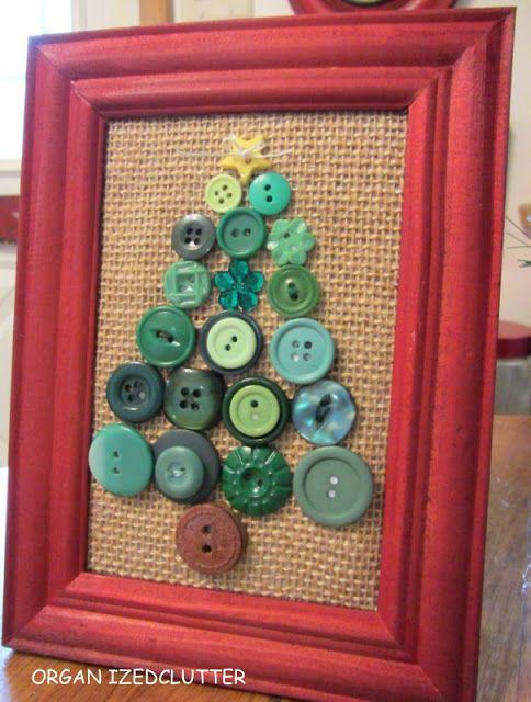Organized Clutter: Framed Button Box Snowman & Christmas Tree http://organizedclutterqueen.blogspot.com