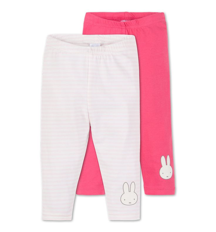 Frontimage view 2er Pack Miffy Baby-Leggings in weiß / rosa