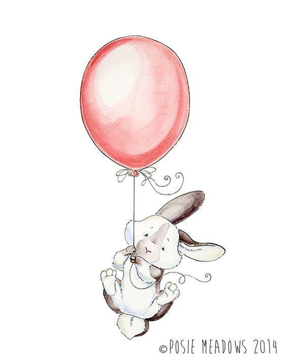Fly Away With Me - Bunny Watercolor Giclee Print, Original Artwork, Children's illustration, Nursery Wall Art