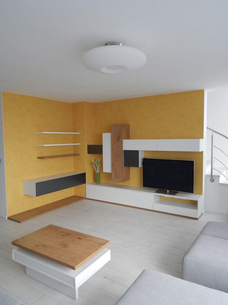 obývačka v jednoduchom štýle s fóliovanými dvierkami Trachea/living room