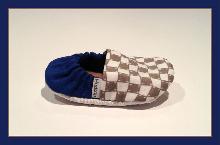 Baby Booties - Royal Blue with Grey/White Checkers  www.bellababybooties.weebly.com