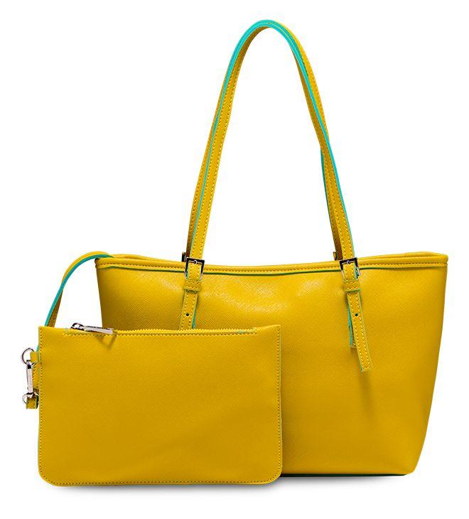 Maxi bag con bustina interna in sintetico effetto saffiano. Giallo limone e profili profili azzurri: perfetta per le tue giornate più calde! Modello Genziana by Caleidos