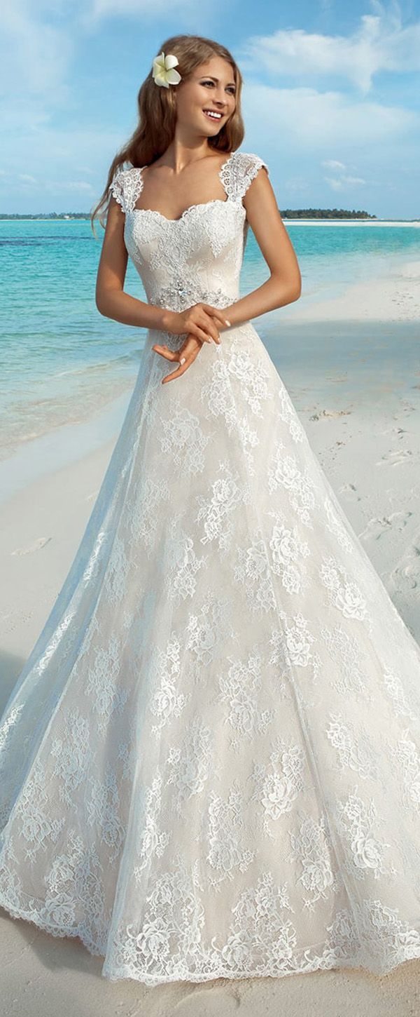Gorgeous Lace Sweetheart Neckline Natural Waistline A-line Wedding Dresses