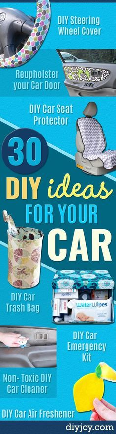 DIY Car Accessories and Ideas for Cars - Interior and Exterior, Seats, Mirror, Seat Covers, Storage, Carpet and Window Cleaners and Products - Decor, Keys and Iphone and Tablet Holders - DIY Projects and Crafts for Women and Men http://diyjoy.com/diy-ideas-car