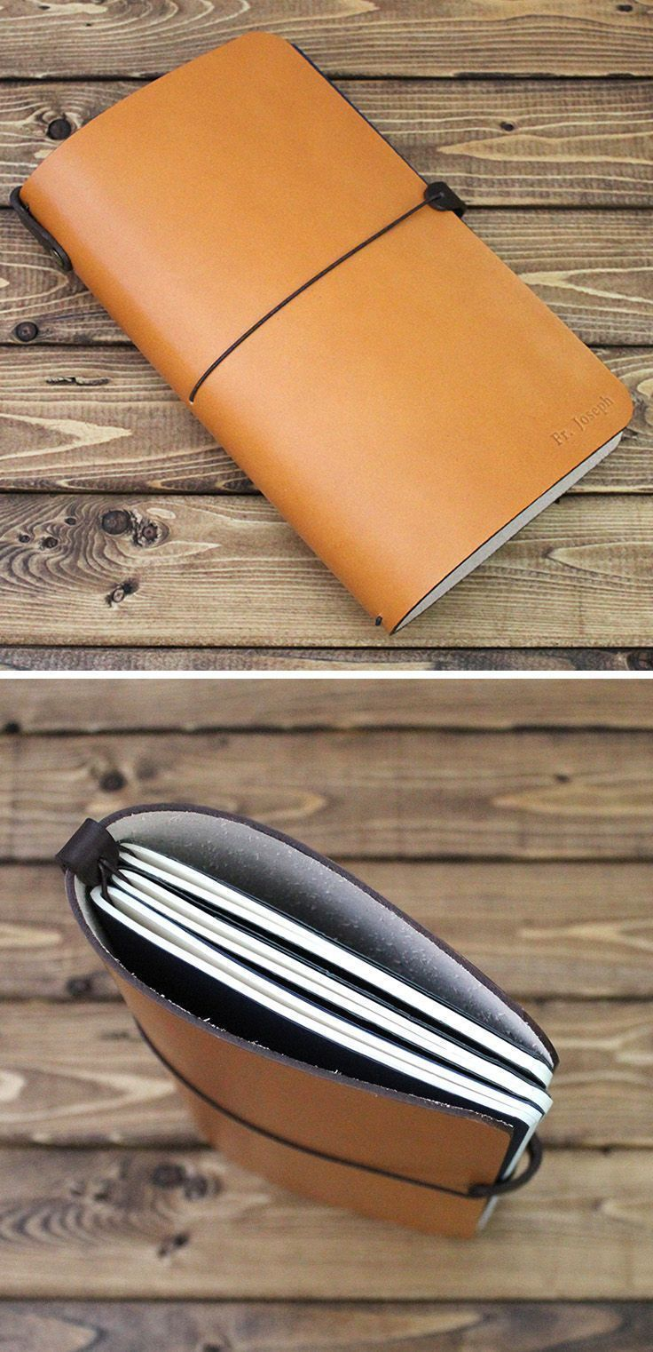 Personalized Journal Cover in Vegetable Tanned TAN Leather. Great personalized gift for bullet journal lovers, writers, drawers, illustrators and students! It is made to fit all journals like Midori travelers, Moleskine journals, FieldNotes, Leuchtturm191