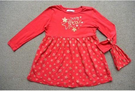 Bonprix jurk bandana rood goud sterren mt 134