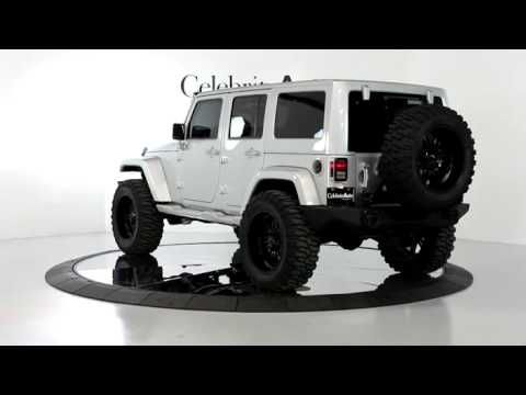 "2012 JEEP WRANGLER UNLIMITED SAHARA 4X4 SILVER/BLK 4"" LIFT 22"" WHEELS SM..."