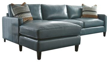 Leather Sectional With Chaise Lounge, Turquoise transitional-sectional-sofas