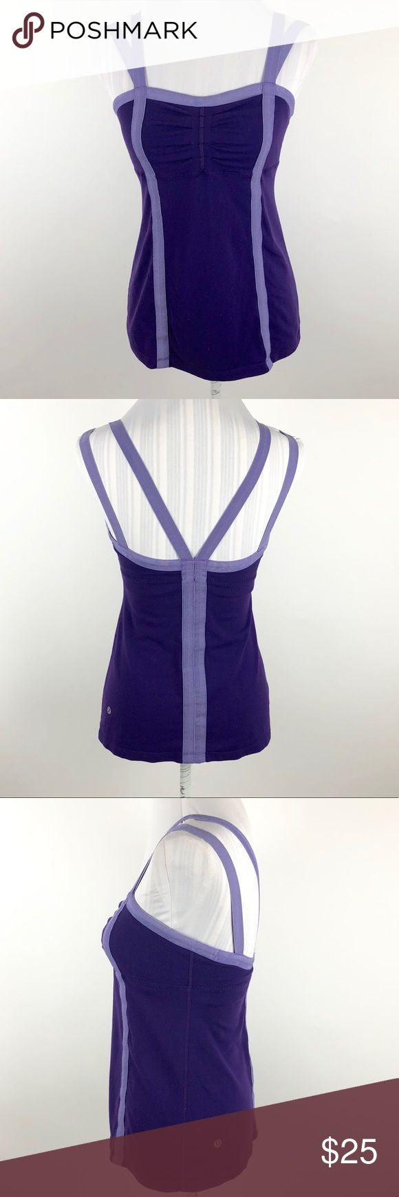 "Lululemon Purple Strappy Tank Top Womens Size 8 Lululemon Purple Strappy Tank Women's Size 8  Pit to Pit: 15""  Length: 18""  Condition: Excellent pre-owned condition. lululemon athletica Tops Tank Tops"